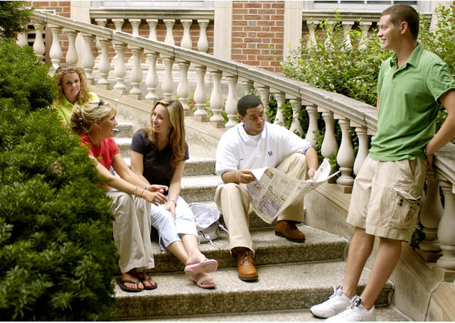 Students on the steps of the Grehan Building