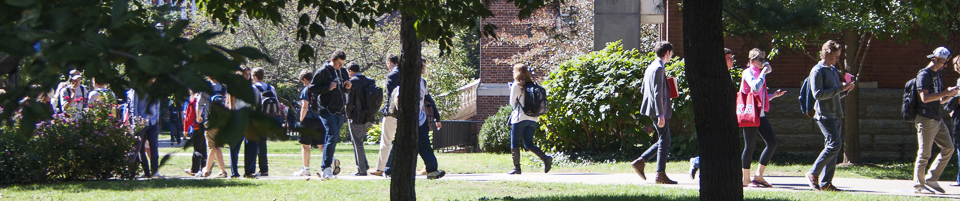 Students walking by Grehan Building