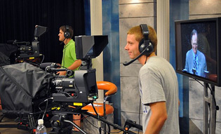 UK Students working in the television studio