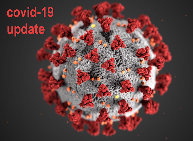 Picture of a coronavirus. Text: Covid-19 update