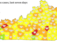 Kentucky Department of Public Health map showing new coronavirus cases by county in the last seven days
