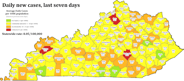 Map of Kentucky showing daily new coronavirus cases by county over the past seven days