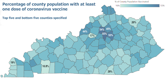 Screenshot of state vaccine dashboard by percentage of county population with at least one dose of coronavirus vaccine.
