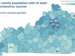Screenshot from the state website with a map of Kentucky. It shows the percentage of each county's population with at least one dose of the coronavirus vaccine.
