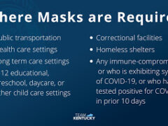 Slide displayed by Gov. Any Beshear at news conference gives latest state rules following new CDC guidelines.