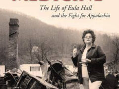 Cover of the 2013 book Mud Creek Medicine. In the cover photo, Eula Hall stands in her clinic's ruins after a fire destroyed it.