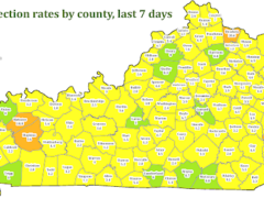Kentucky Department of Health county map showing coronavirus infections rates over the last seven days