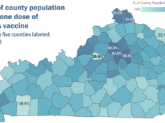 Kentucky Department for Public Health map of Kentucky showing the percentage of each county's population with at least one dose of a coronavirus vaccine