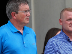 U.S. Rep. Thomas Massie,left,and state Rep. Josh Calloway spoke at the rally.(Courier Journalphoto by Scott Utterback)