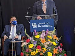 McConnell spoke at the University of Kentucky as Dr. Mark Newman, head of the hospital, listened.